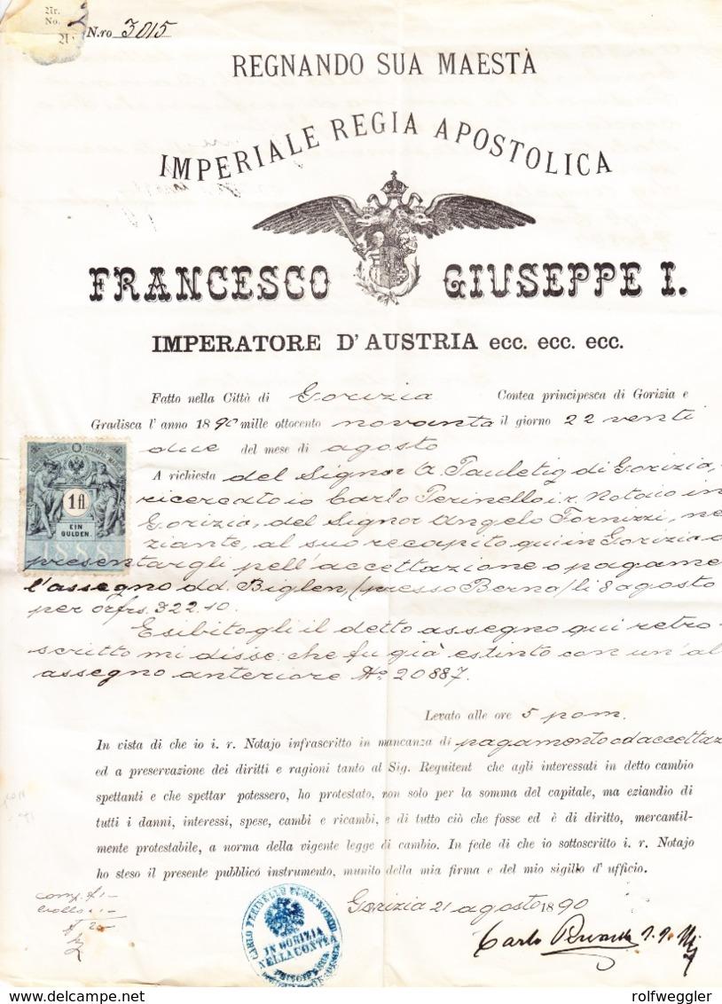 1890 Dokument Aus Goricia Mit 1 Gulden Steuermarke; Zusätzlich Check Gestempelt Eidgenössische Bank Bern - Steuermarken