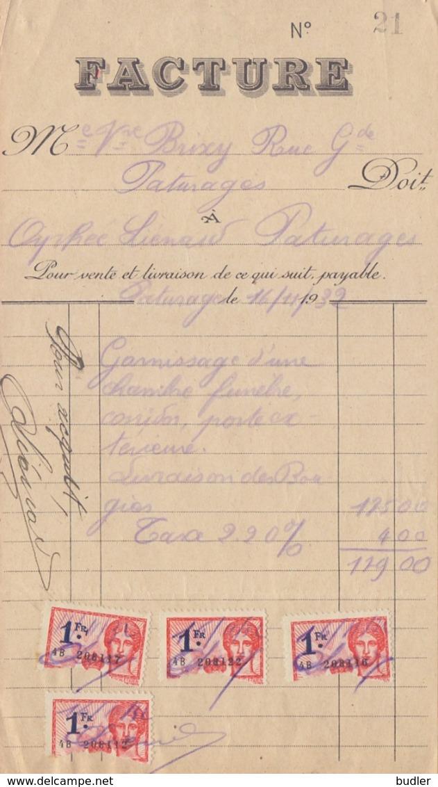 1932: Facture De ## Orphée LIÉNARD à PATURAGES ## à ## Me. Vve. BRIEXY, Rue Grande à PATURAGES ## - Belgium