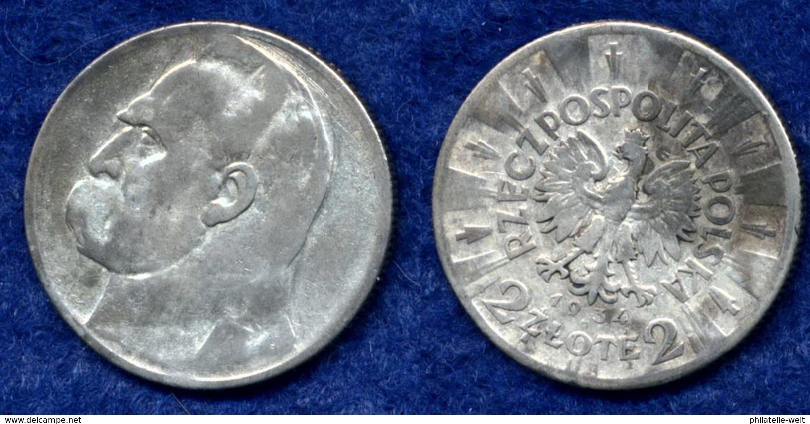 Polen 2 Zl. 1934 Pilsudski Ag750 - Pologne