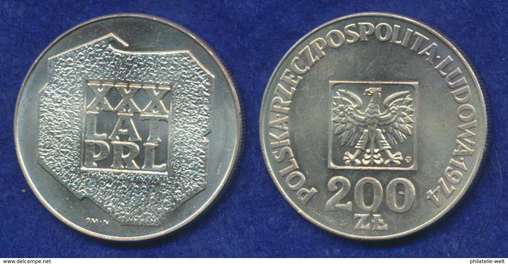 Polen 200 Zl. 1974 Landkarte Und Inschrift Ag625 14,5g - Pologne