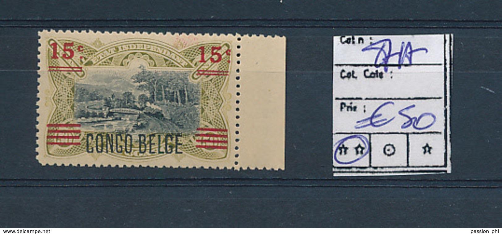 BELGIAN CONGO 1921 ISSUE VARIETY COB 87A MNH - Congo Belge