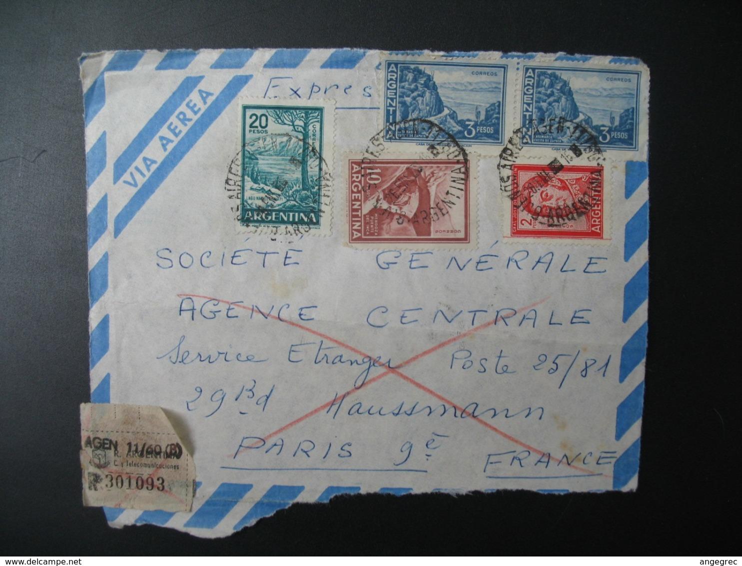 Républica Argentina - Argentine Devant Lettre Recommandée N° 301093  Pour Sté Générale  En France Bd Haussmann Paris - Argentina