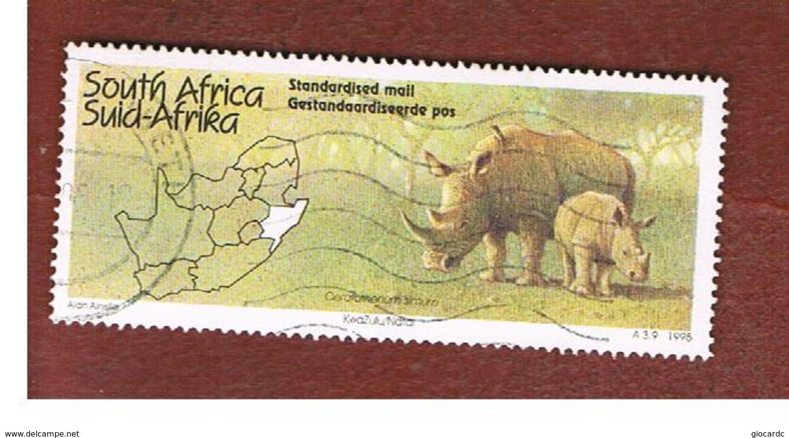 SUD AFRICA (SOUTH AFRICA) - SG 866 - 1995 TOURISM: NATAL (WHITE RHINOCEROS)     - USED - Usati