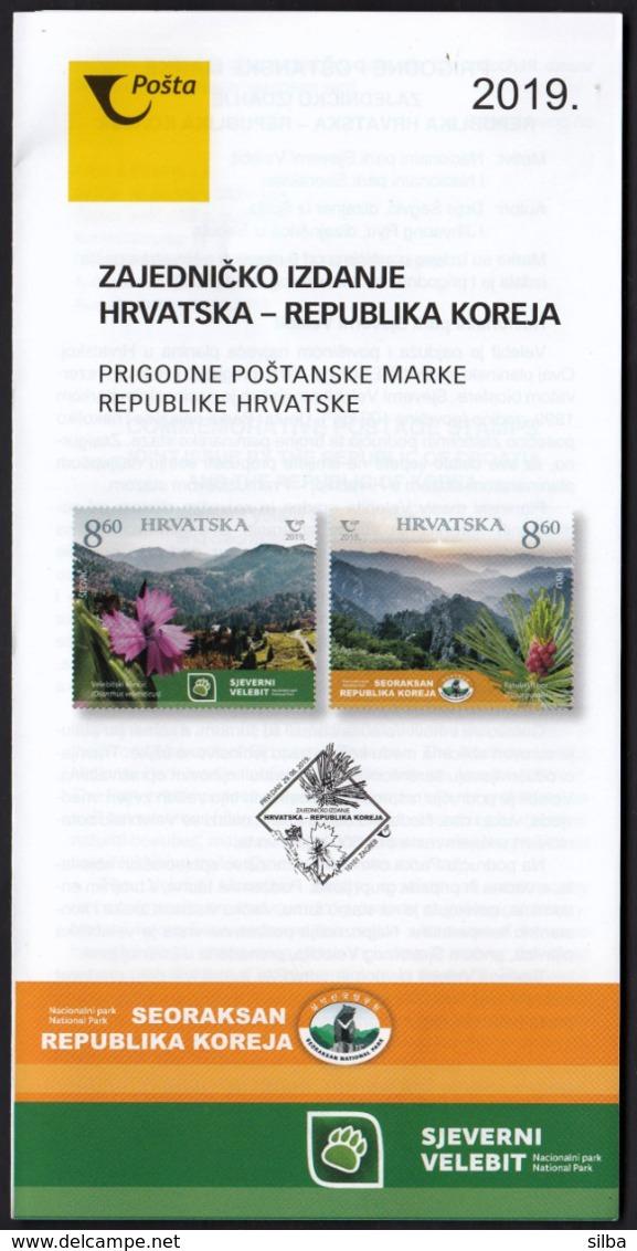 Croatia 2019 / Joint Issue With Korea / National Parks Northern Velebit And Seoraksan / Prospectus, Leaflet, Brochure - Kroatien