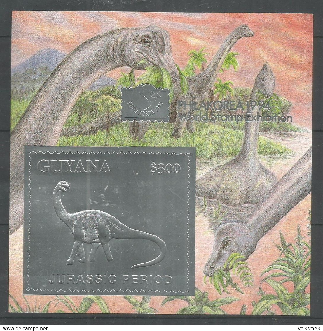GUYANA - MNH - Animals - Prehistorics - Dinosaurs - Silver - Briefmarken