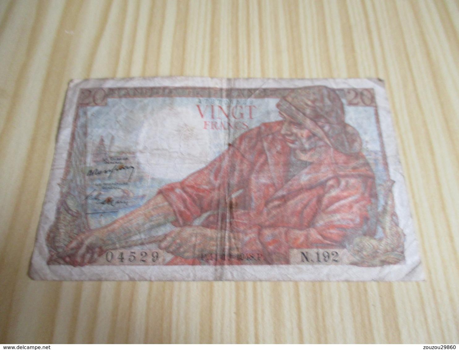 France.Billet 20 Francs Pêcheur 14/10/1948. - 1871-1952 Anciens Francs Circulés Au XXème