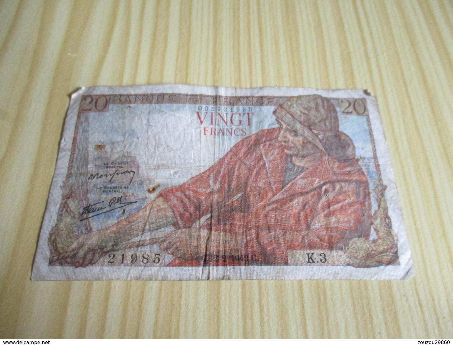 France.Billet 20 Francs Pêcheur 12/02/1942. - 1871-1952 Anciens Francs Circulés Au XXème