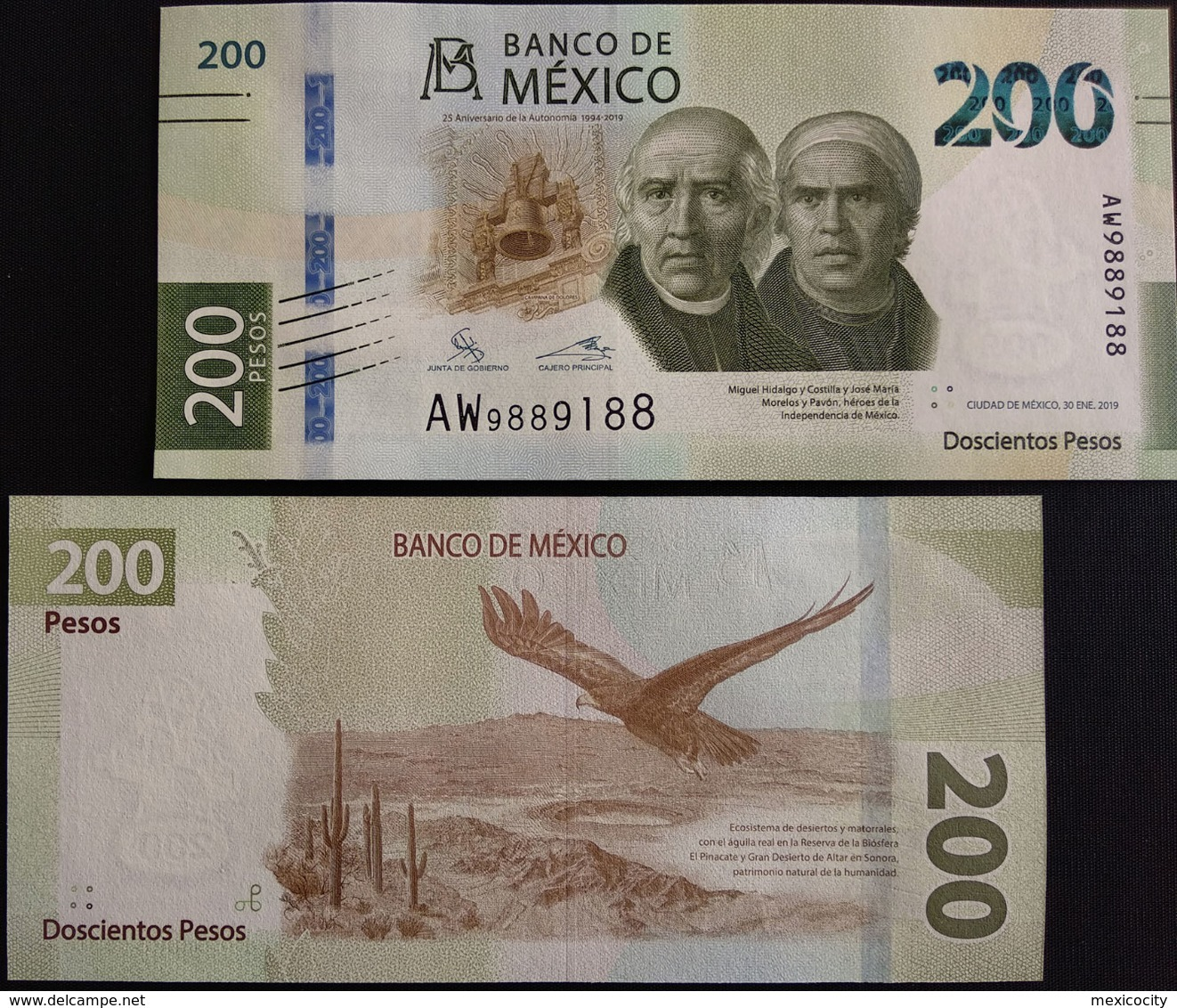 MEXICO 2019 + NEW $200 Paper Banknote, Eagle And Cactii In Desert Dsn., Mint, Crisp, Hard To Find - Mexico