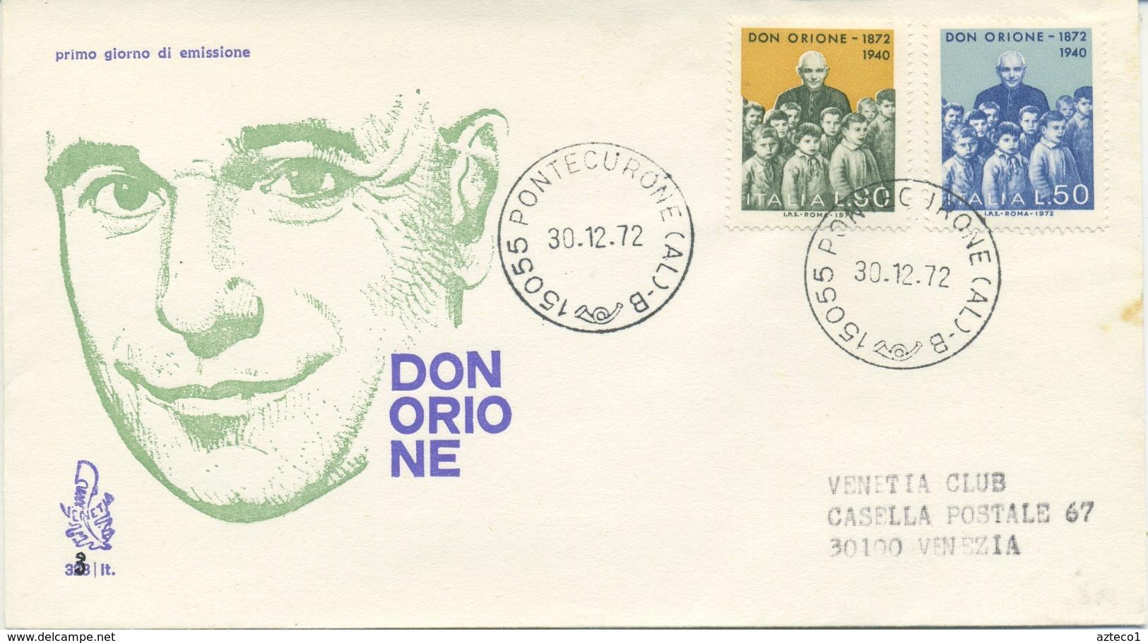 ITALIA - FDC VENETIA 1972 - DON LUIGI ORIONE - VIAGGIATA PER VENEZIA - F.D.C.