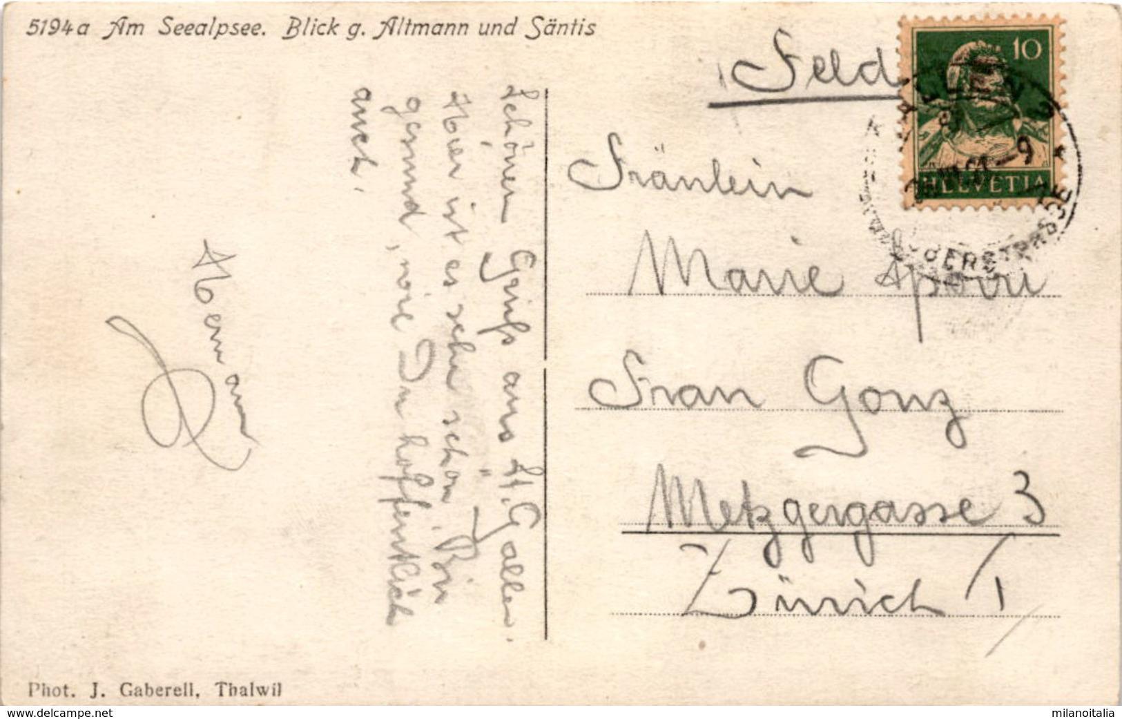 Am Seealpsee - Blick G. Altmann Und Säntis (5194a) * 26. 6. 1921 - AI Appenzell Innerrhoden