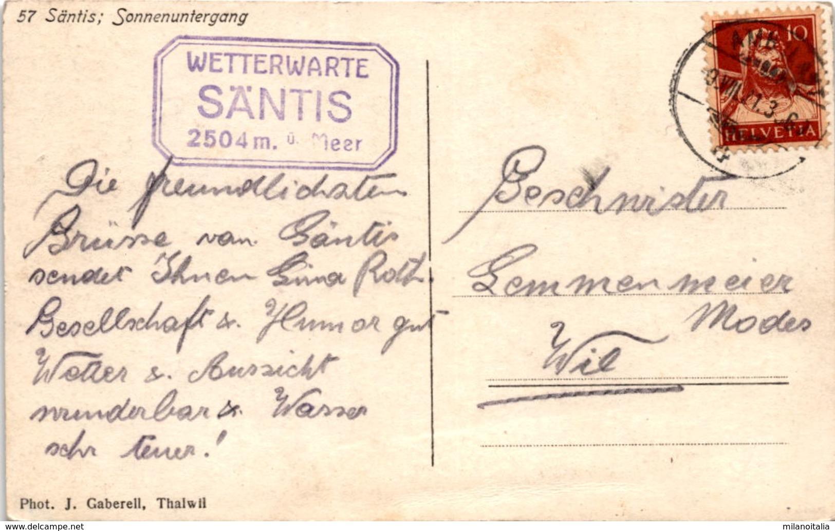Säntis: Sonnenuntergang (57) * 9. 8. 1921 - AI Appenzell Innerrhoden