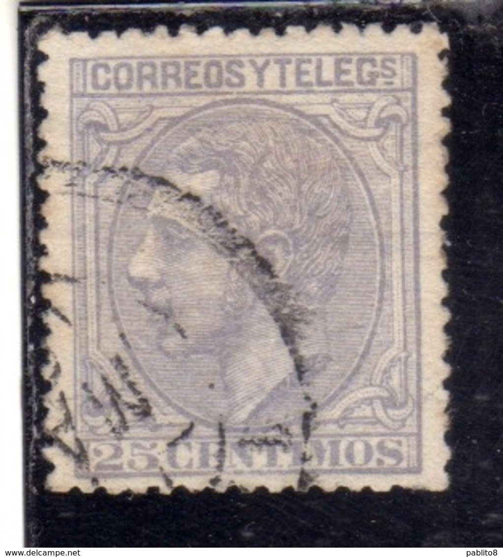 SPAIN ESPAÑA SPAGNA 1879 KING ALFONSO XII RE CENT. 25c USATO USED OBLITERE' - 1875-1882 Königreich: Alphonse XII.