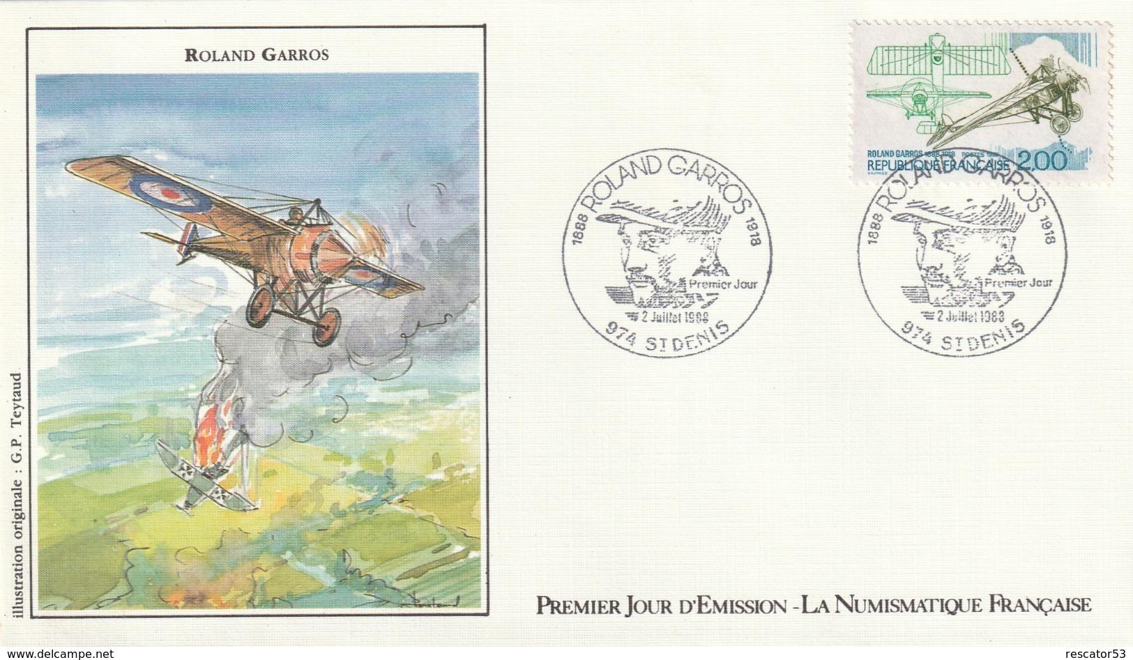 Rare Enveloppe Premier Jour Roland Garros Aviateur - 1980-1989