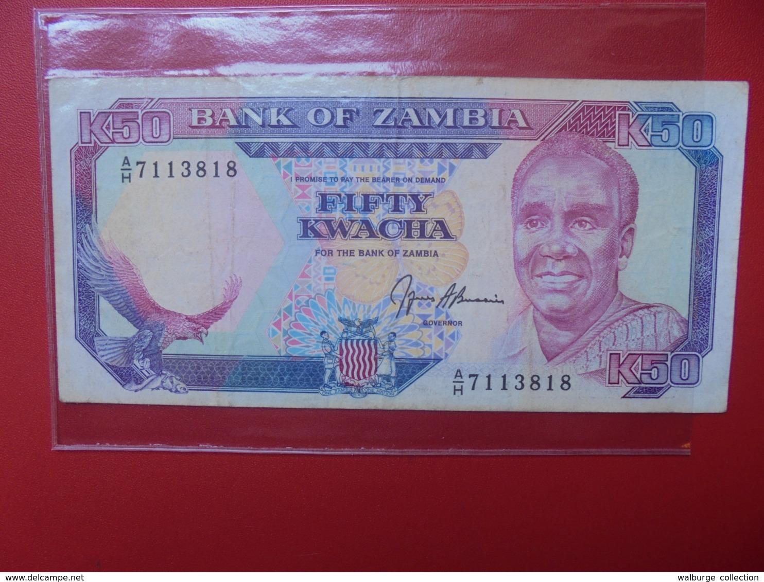ZAMBIE 50 KWACHA 1989-91 SIGNATURE N°9 CIRCULER (B.7) - Zambie