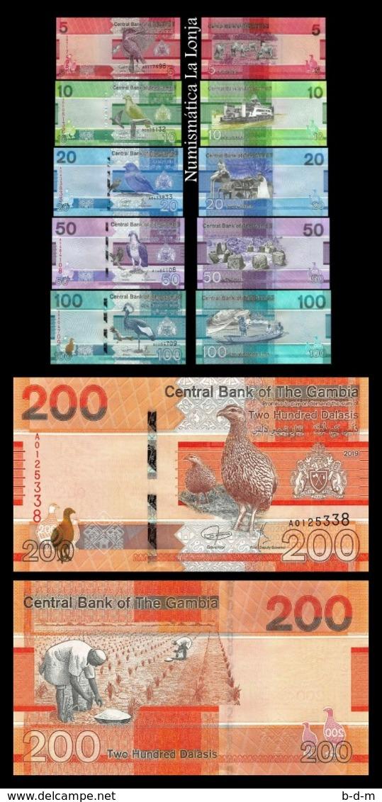 Gambia Full Set 5 10 20 50 100 200 Dalasis 2019 Pick New Design SC UNC - Gambia