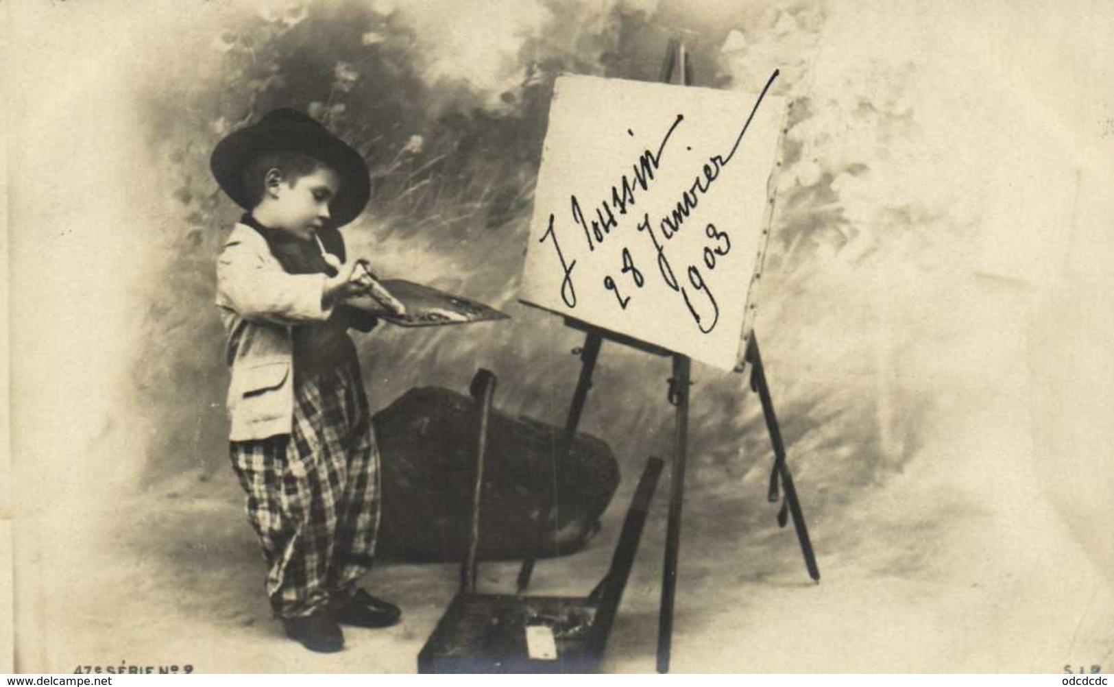 Serie 9 Cartes Un Jeune Peintre En Herbe à L'ouvrage RV - Children