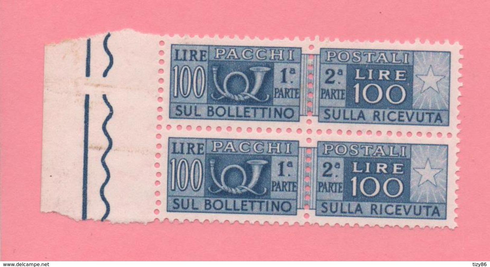 2 Marche Da Bollo - Per Pacchi - £ 100 - Nuove - Italia
