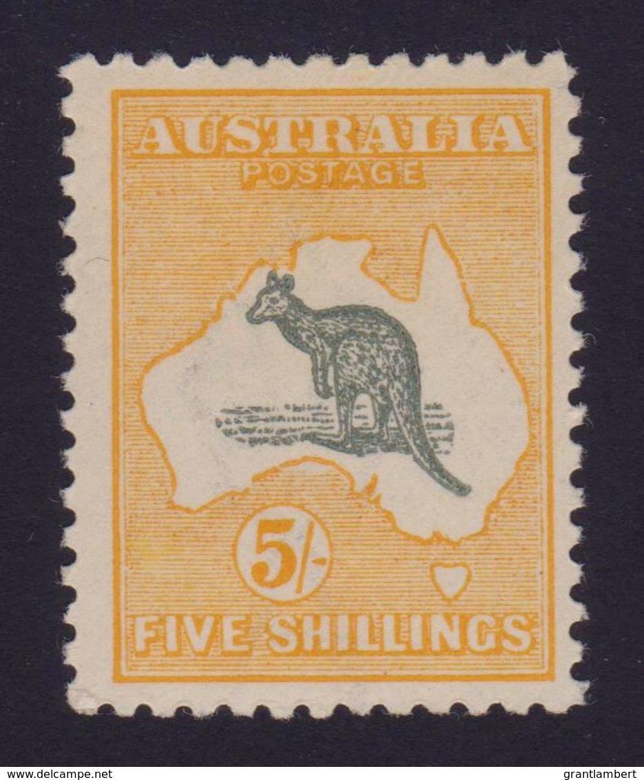 Australia 1917 Kangaroo 5/- Grey & Chrome 3rd Wmk MH - Listed Variety - Mint Stamps