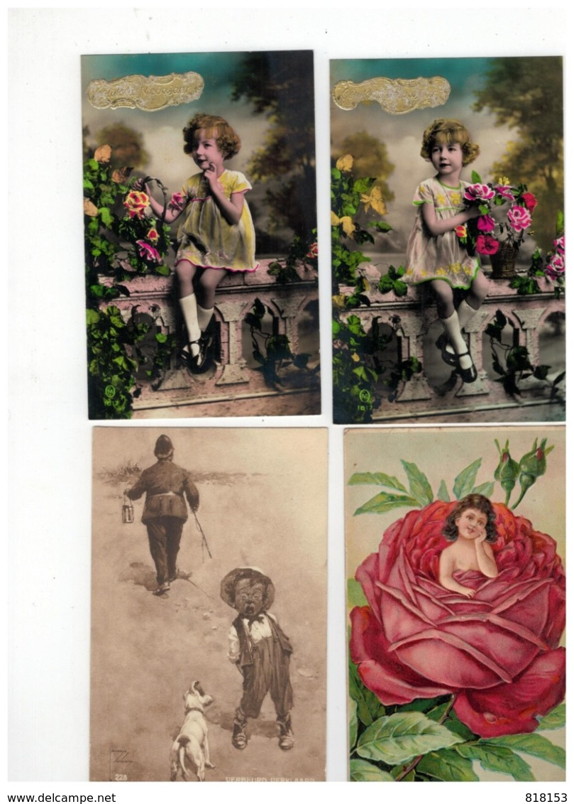 19 Oude Postkaarten Met Kindjes,meeste Geschreven En Afgestempeld Begin 1900 - Cartes Postales