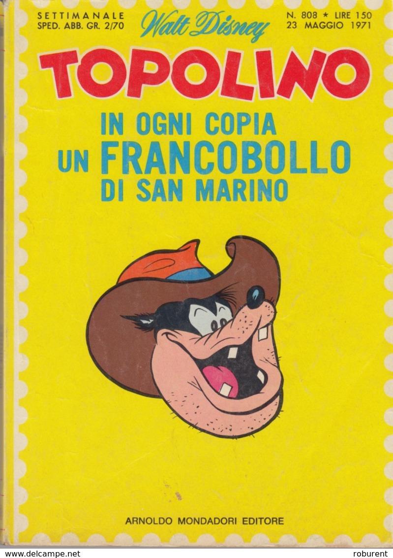 DISNEY - ALBUM TOPOLINO N°808 - 23 Maggio 1971 - GIOCHI INTONSI NON SVOLTI - BOLLINI PUNTI - OTTIMO - Disney