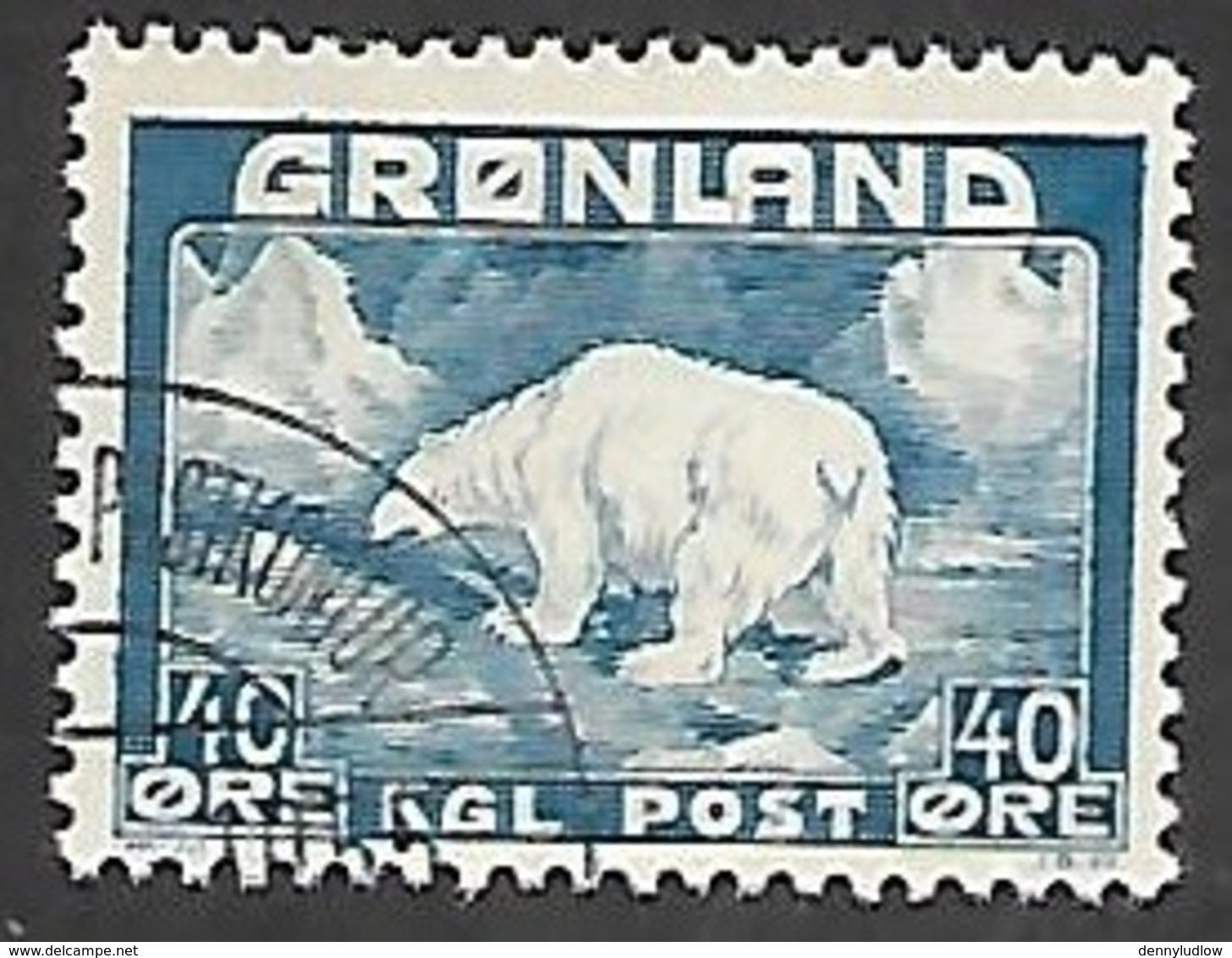 Greenland 1946   Sc#8   40o Polar Bear  Used   2016 Scott Value $11.50 - Greenland
