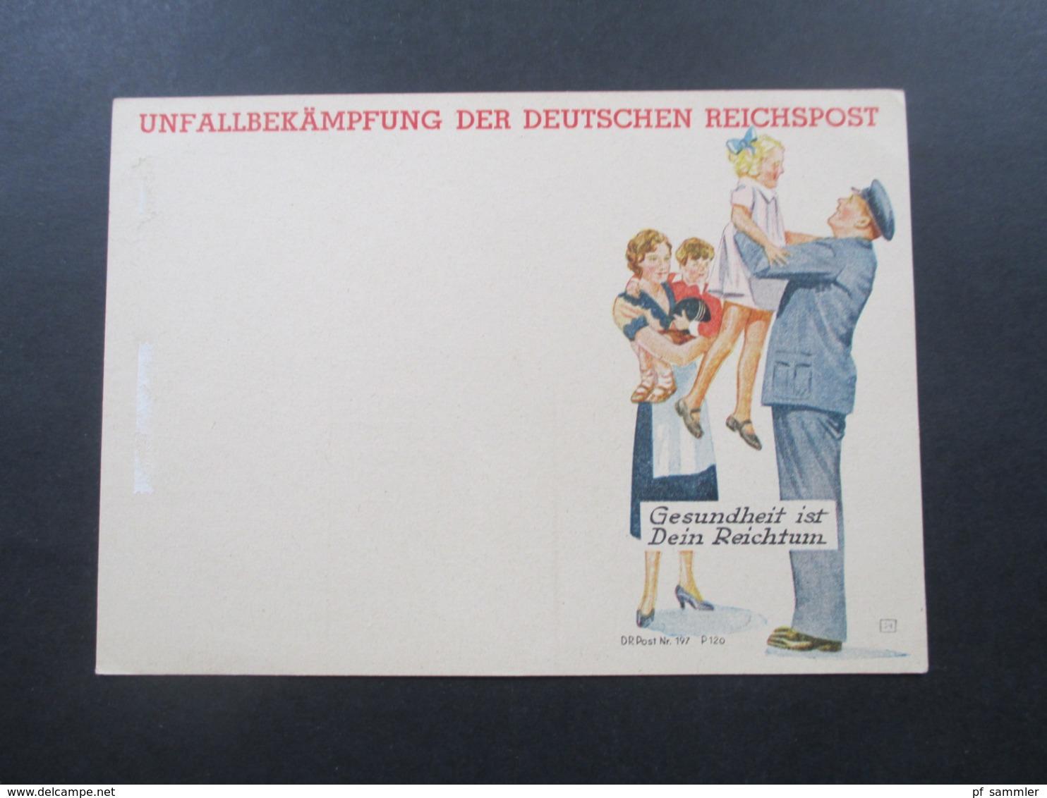 Deutsches Reich 1940er Jahre Private PK Unfallverhütung Der Deutschen Reichspost 2 Motive Bester Unfallschutz Ungebrauch - Lettres & Documents