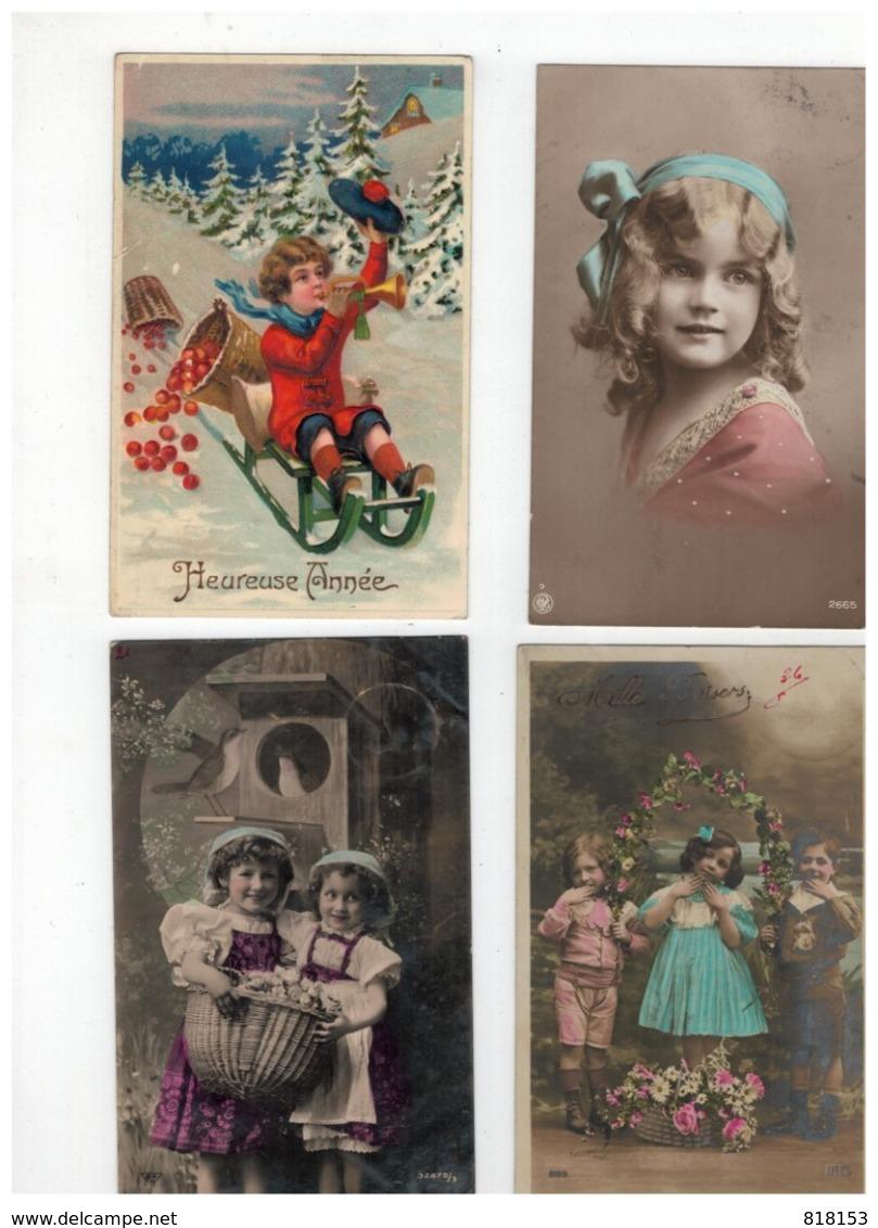 20 Oude Wenskaarten Met Kindjes,meeste Geschreven En Afgestempeld Begin 1900 - Cartes Postales