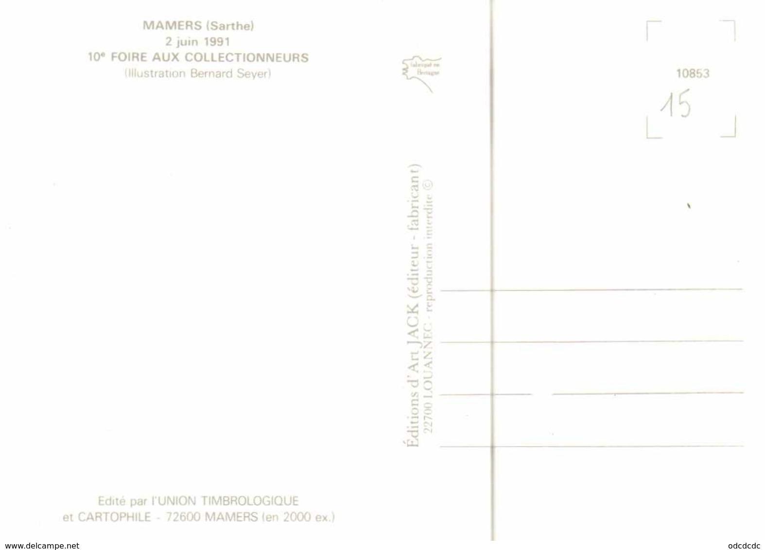 Bernard Seyer MAMERS (Sarthe) 2 Juin 1991 10e FOIRE AUX COLLECTIONNEURS COCHON  CLOWN  RV - Collector Fairs & Bourses