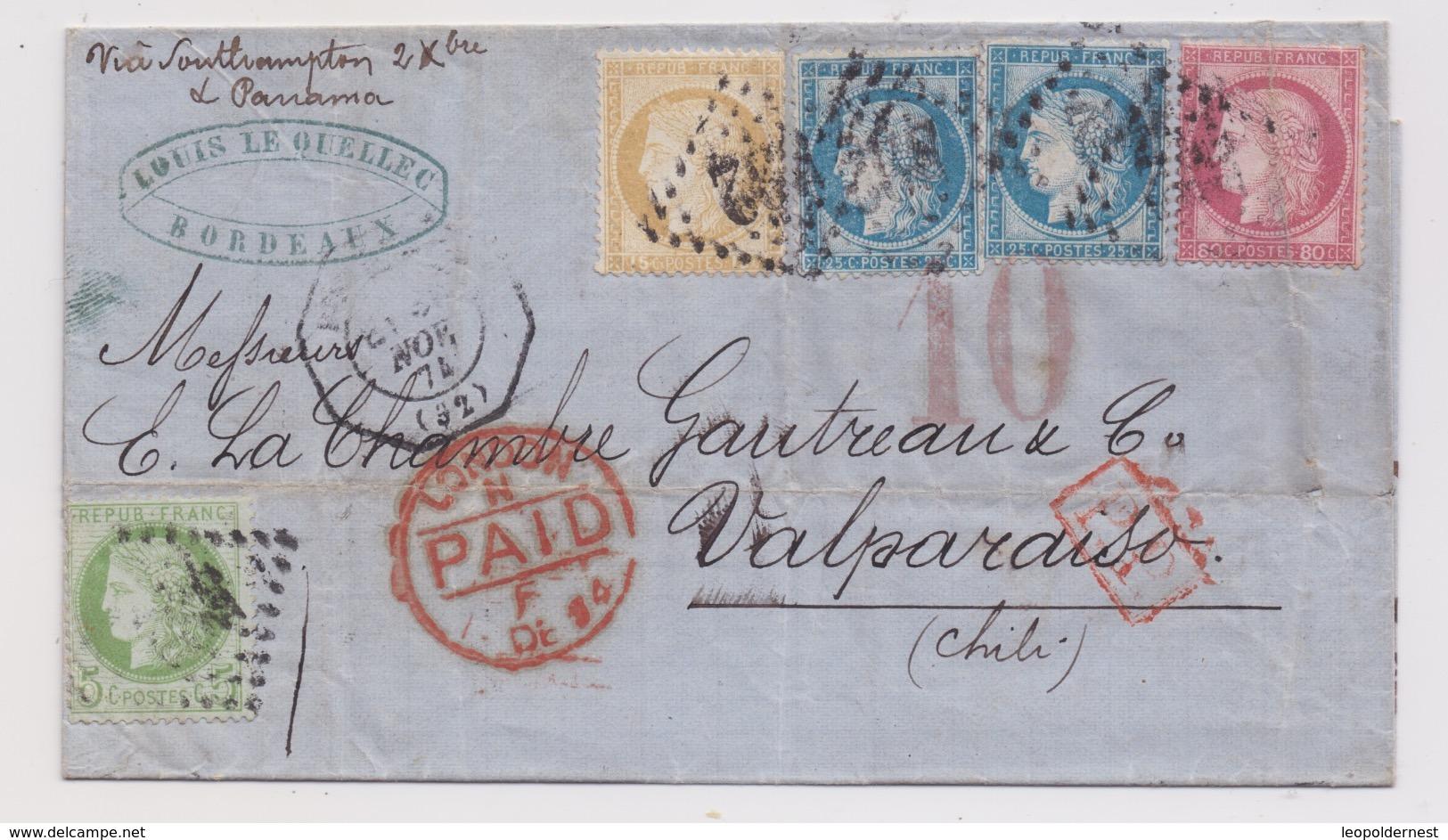 FRANCE - CLASSIQUES : LETTRE Pour VALPARAISO, CHILI. N°53 + N° 55 + N°57 + N°60X2. - 1871-1875 Ceres