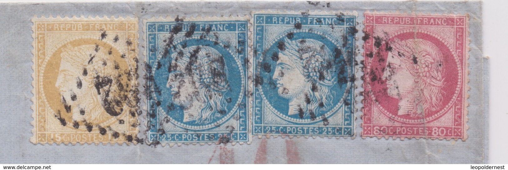 FRANCE - CLASSIQUES : LETTRE Pour VALPARAISO, CHILI. N°53 + N° 55 + N°57 + N°60X2. - 1871-1875 Cérès