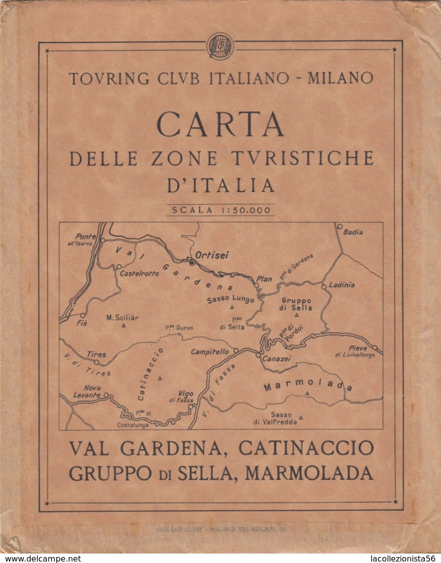 9521-CARTA D'ITALIA DEL TOURING CLUB ITALIANO-VAL GARDENA,CATINACCIO,GRUPPO DI SELLA,MARMOLADA - Carte Geographique