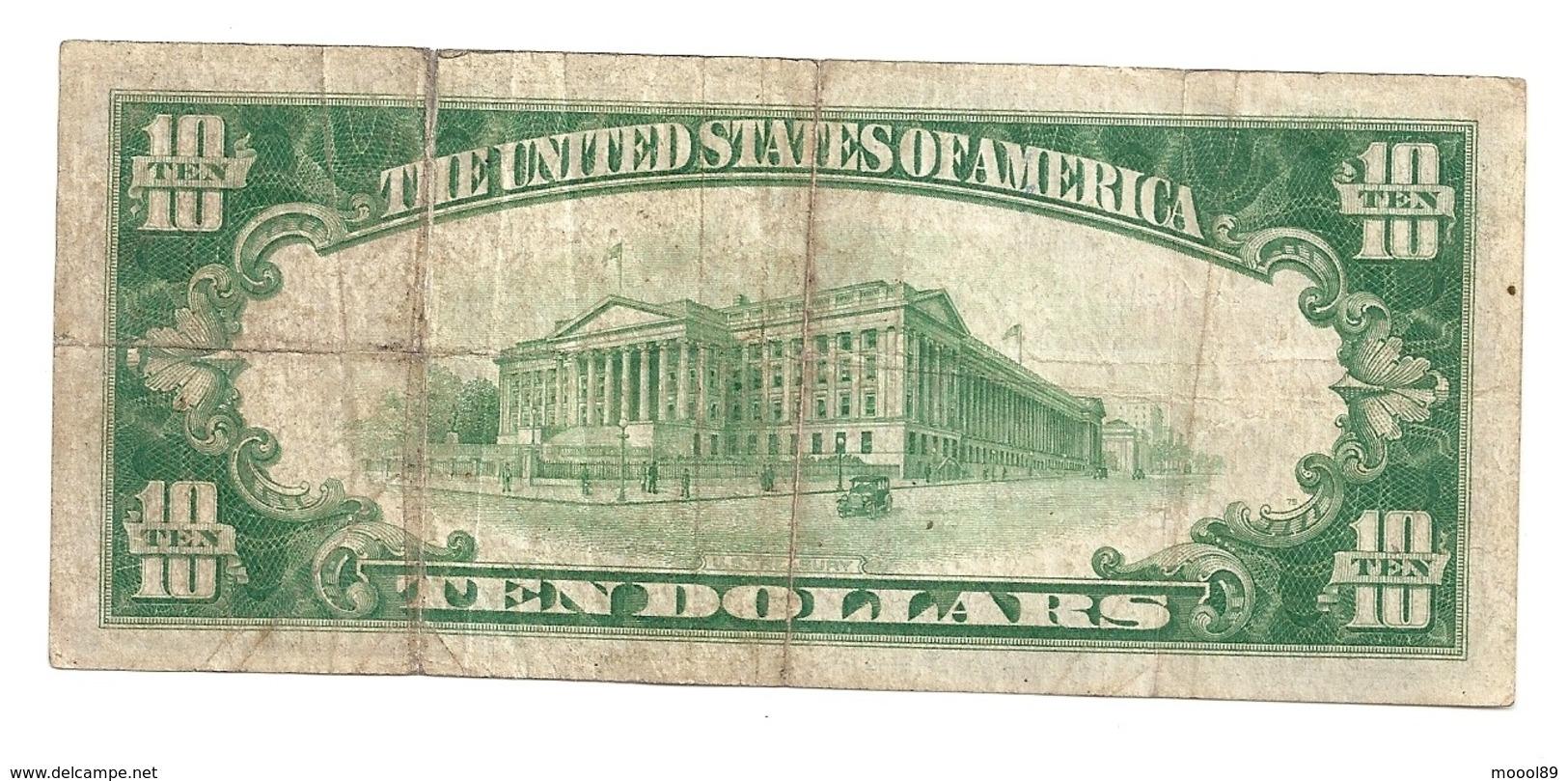 10 Dollars 1928 USA. - Certificaten Van Goud (1928)