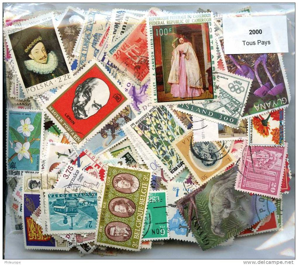 2000 Timbres Tous Pays - Timbres