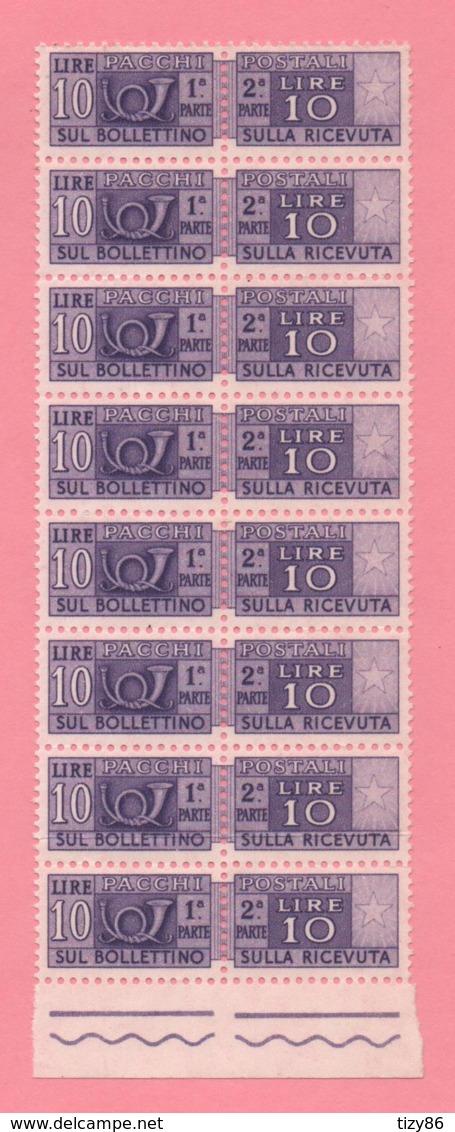 Blocco Di 8 Marche Da Bollo - Per Pacchi - £ 10 - Nuovi - Italië