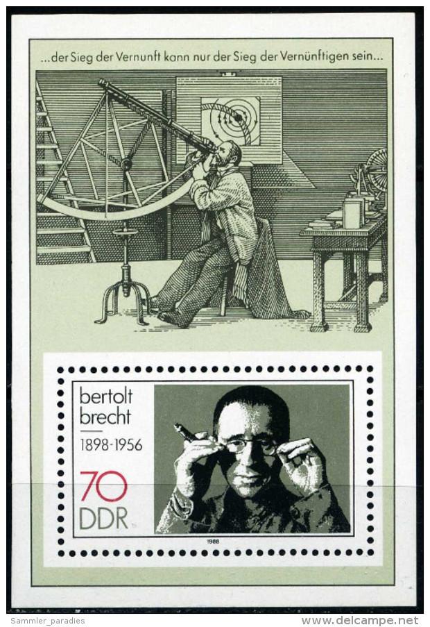 DDR - Mi Block 91 = 3148 - ** Postfrisch (A) - 70Pf  Bertolt Brecht - [6] République Démocratique