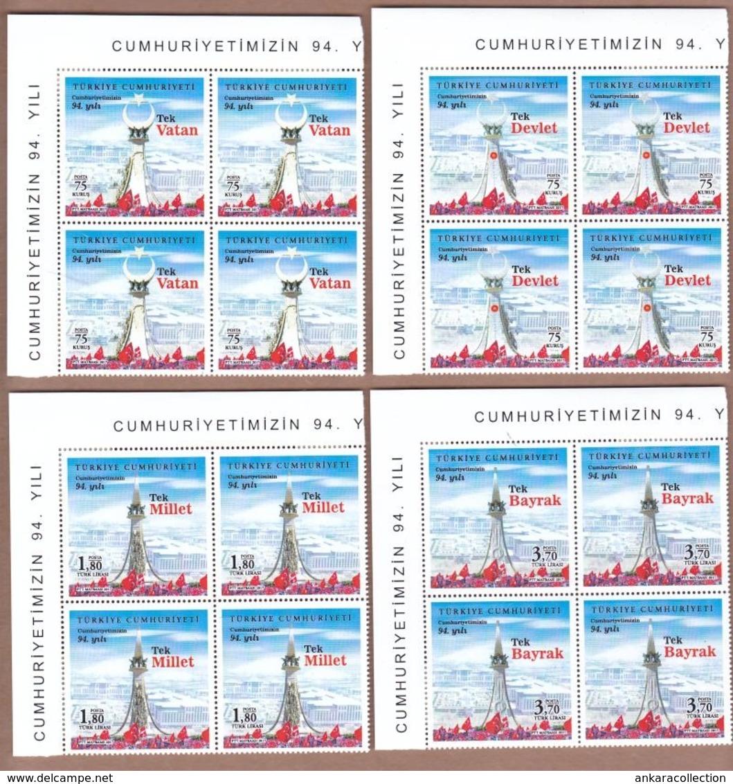 AC - TURKEY STAMP -  94th YEAR OF REPUBLIC OF TURKEY BLOCK OF FOUR MNH 29 OCTOBER 2017 - Nuevos