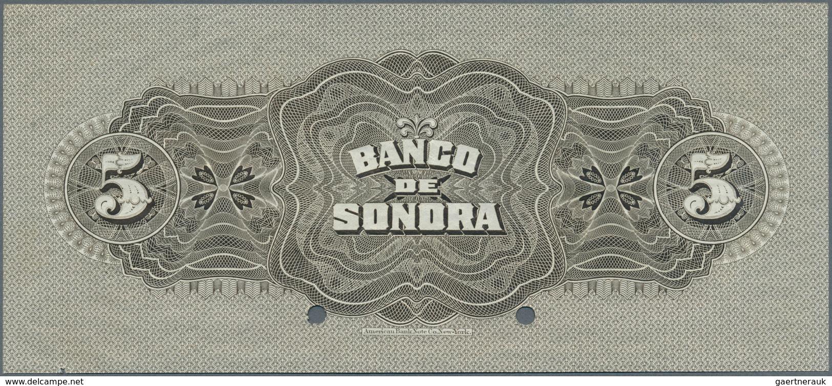 Mexico: El Banco De Sonora 5 Pesos 1911 SPECIMEN, P.S419s, Punch Hole Cancellation And Red Overprint - Mexico