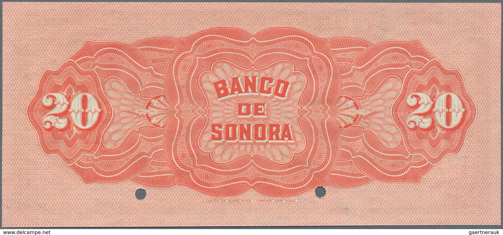 Mexico: El Banco De Sonora 20 Pesos 1899-1911 SPECIMEN, P.S421s, Punch Hole Cancellation And Red Ove - Mexico