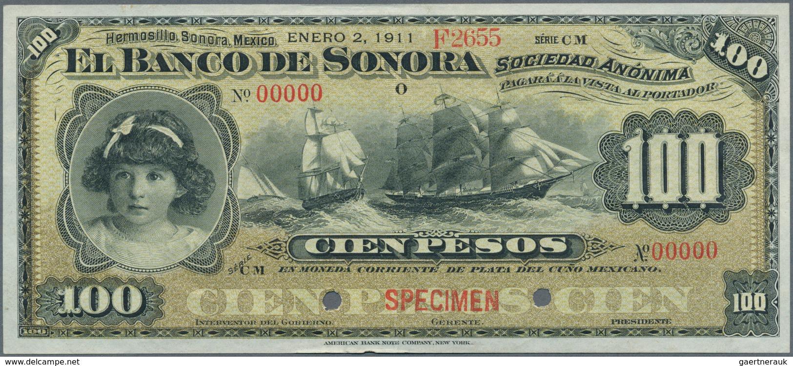 Mexico: El Banco De Sonora 100 Pesos 1911 SPECIMEN, P.S423s, Punch Hole Cancellation And Red Overpri - Mexico