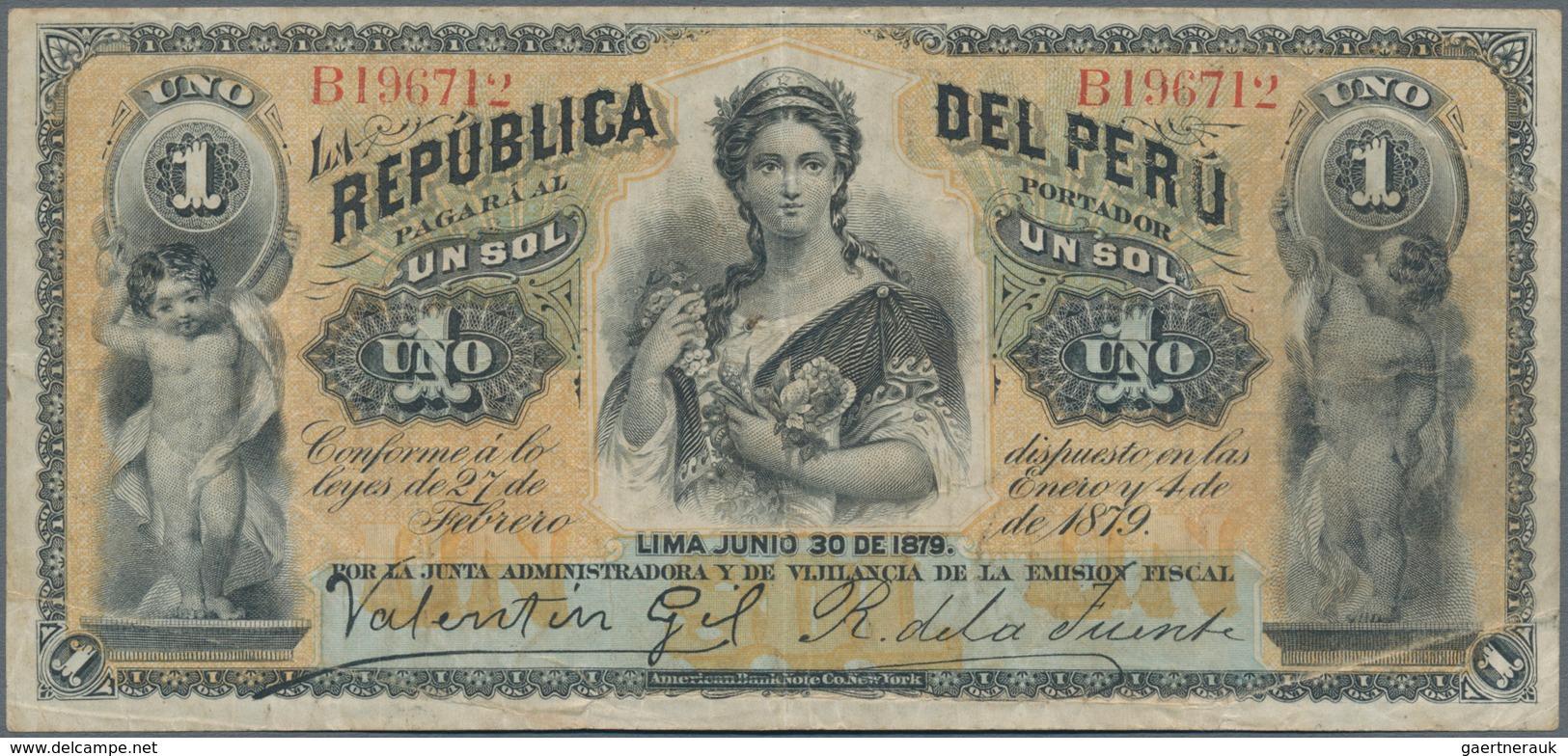 Peru: Pair With 1 Sol Republica Del Peru 1879 P.1 (VF) And 500 Soles De Oro 1952 Banco Central De Re - Peru