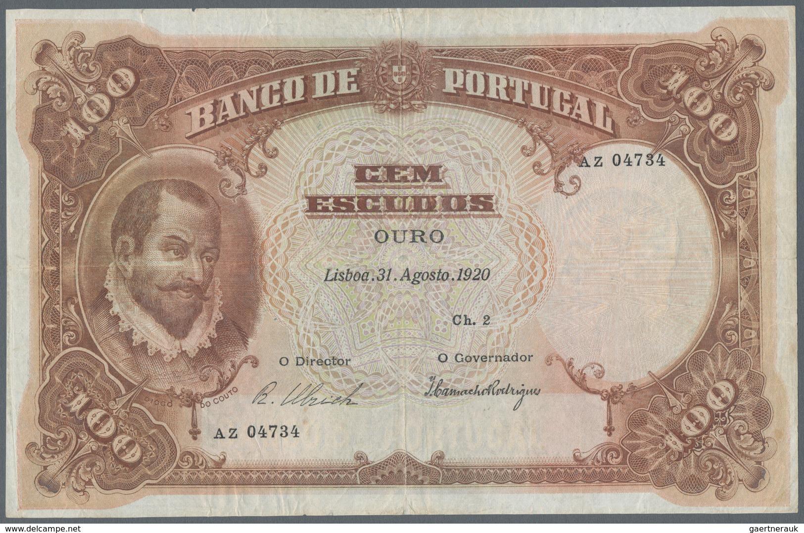 Portugal: Banco De Portugal 100 Escudos 1920, P.124, Very Attractive And Extraordinary Rare Banknote - Portugal