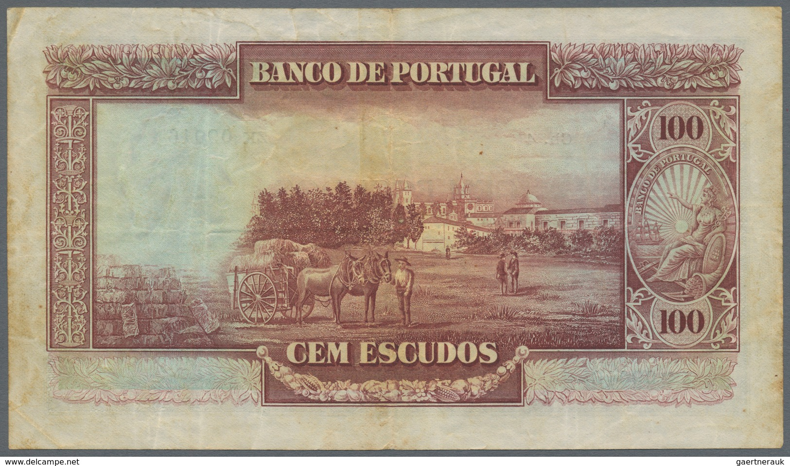 Portugal: Banco De Portugal 100 Escudos 1930, P.140, Lightly Stained Paper, Some Tiny Spots And A Fe - Portugal