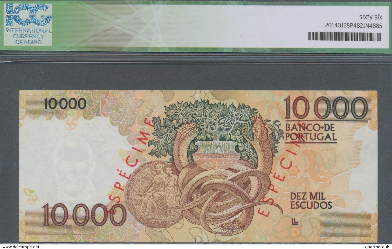 Portugal: 10.000 Escudos 1989 SPECIMEN, P.185s In UNC, ICG Graded 66 CHOICE UNC - Portugal