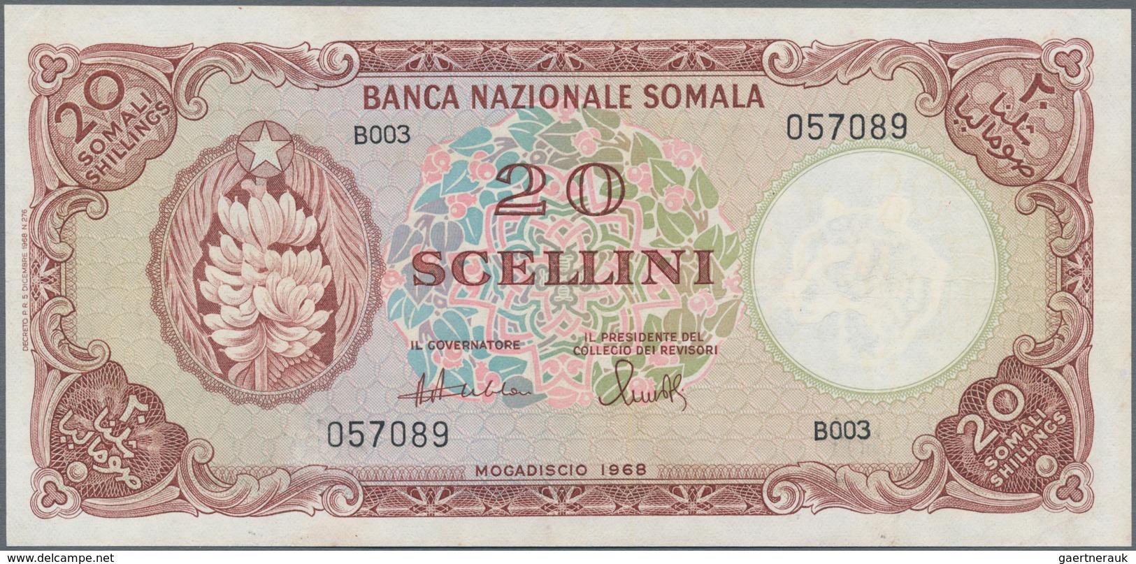 Somalia: Banca Nazionale Somala 20 Scellini 1968, P.11, Still Nice Condition With A Few Minor Spots - Somalia