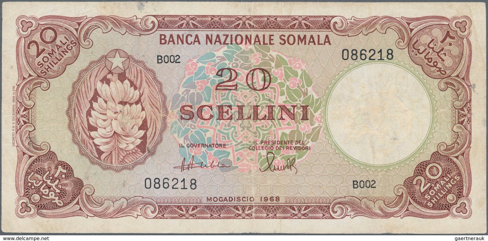 Somalia: Banca Nazionale Somala 20 Scellini 1968, P.11, Pinholes At Upper Left, Some Folds And Obiou - Somalia