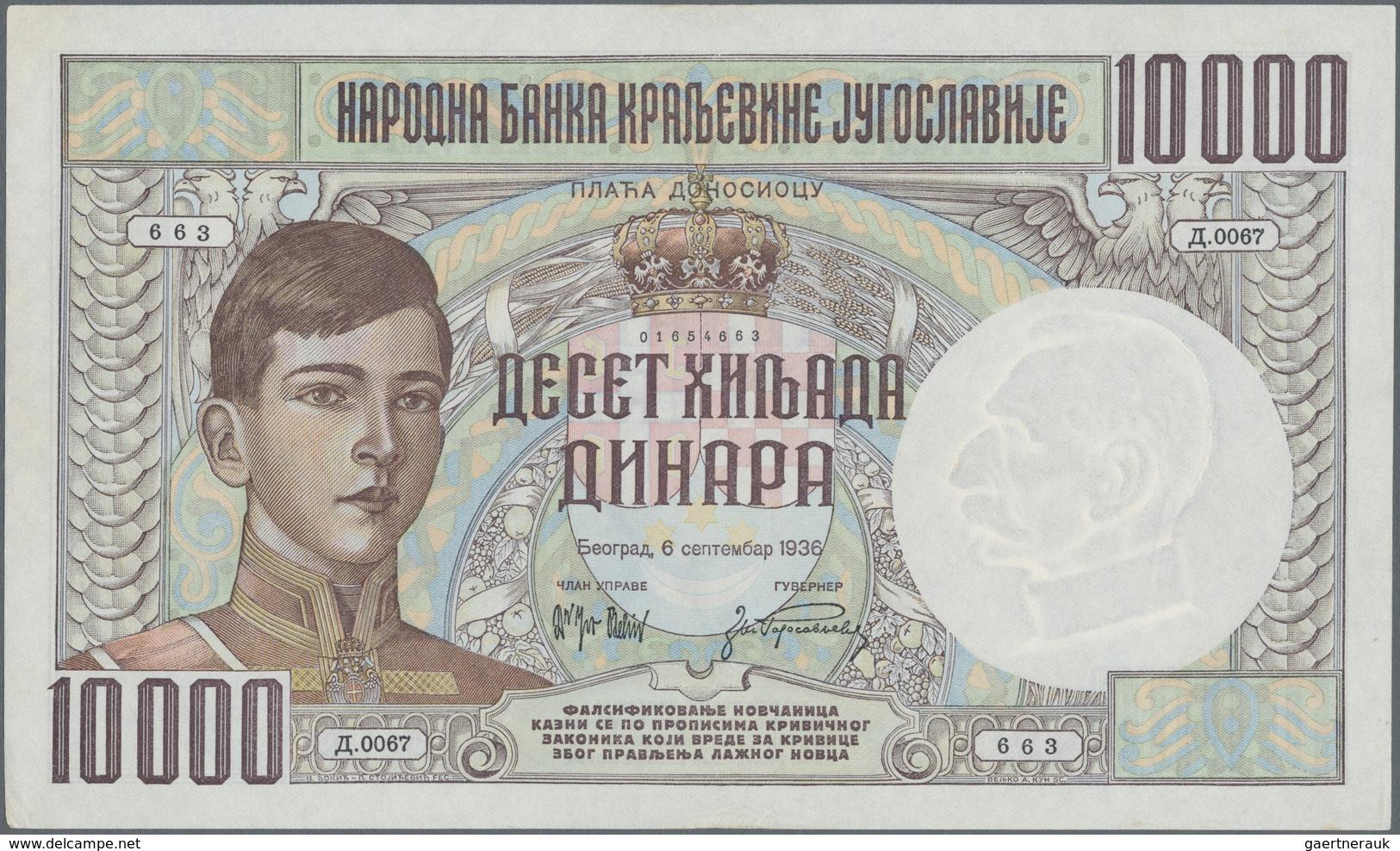 Yugoslavia / Jugoslavien: Kingdom Of Yugoslavia 10.000 Dinara 1936, P.34, Very Popular And Extraordi - Yugoslavia