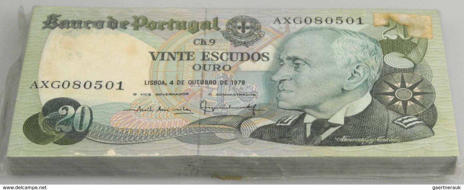 Portugal: Full Bundle Of 100 Pcs 20 Escudos 1978 P. 176b In UNC. (100 Pcs) - Portugal
