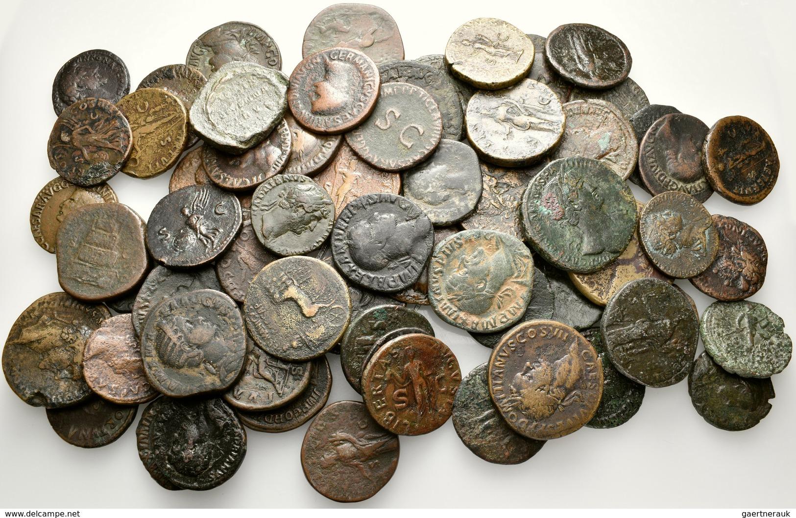 Antike: Römische Kaiserzeit: Lot-über 65 Stück; Bronzemünzen Des 1.-3. Jahrhundert. Etliche Sesterze - Non Classés