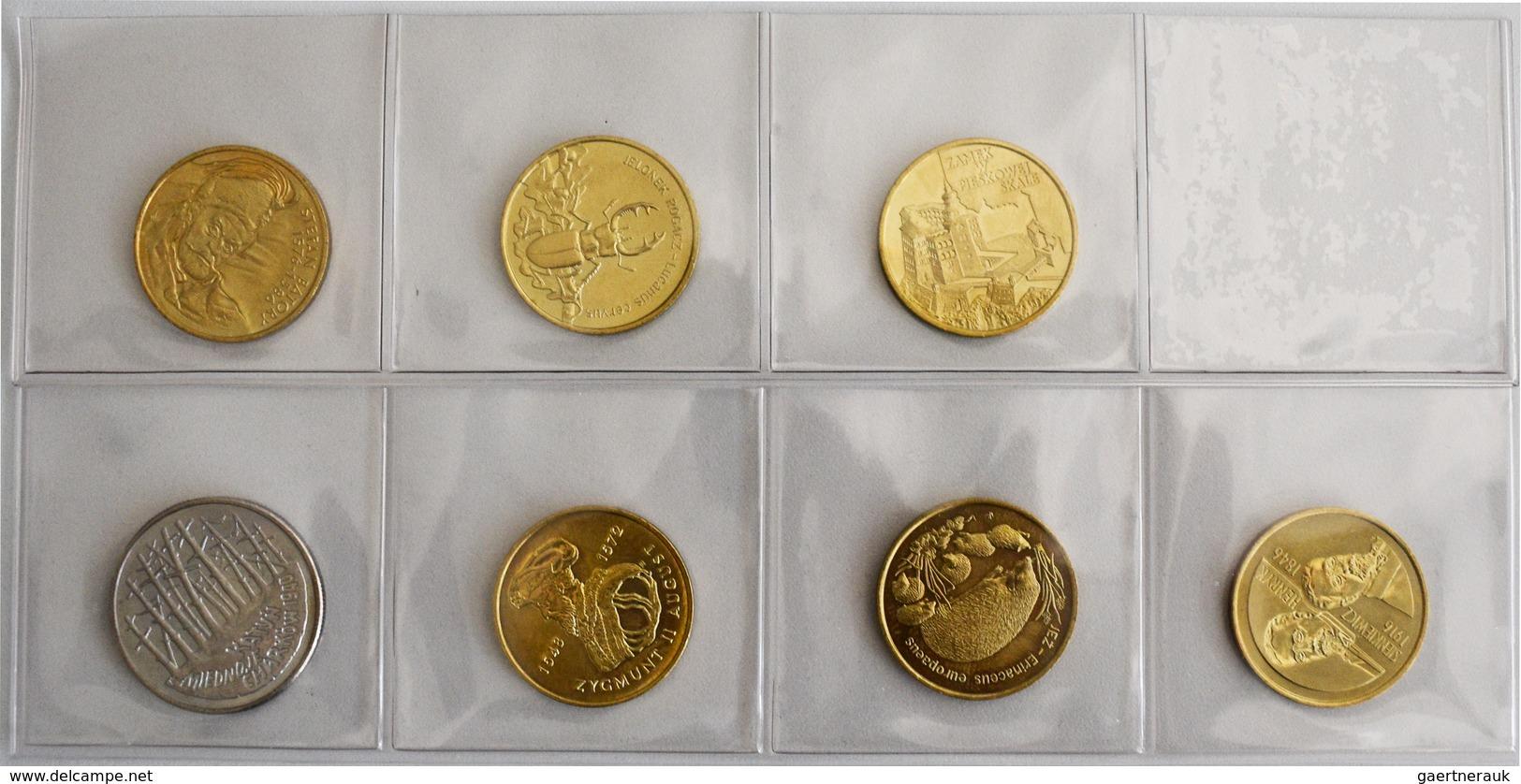 Polen: Lot 7 Münzen Zu 2 Zlote: 1995 Katyn, KM# Y 285; 1996 Zygmunt II. August, KM# Y 306; Igel, KM# - Pologne