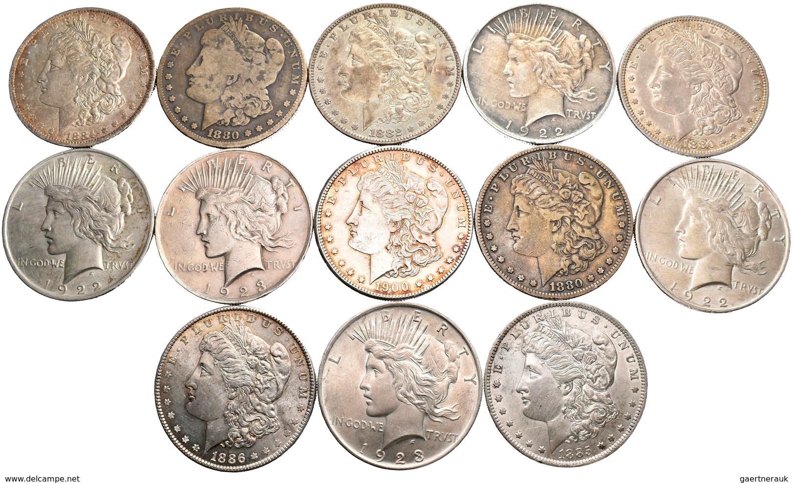 Vereinigte Staaten Von Amerika: Lot 13 Münzen, Dabei 8 X Morgan Dollar 1880 - 1900, KM# 110 Sowie 5 - Non Classés
